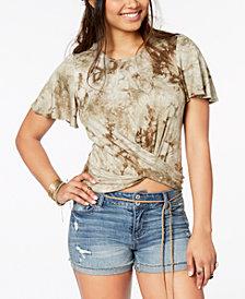 American Rag Juniors' Printed Crisscross Top, Created for Macy's
