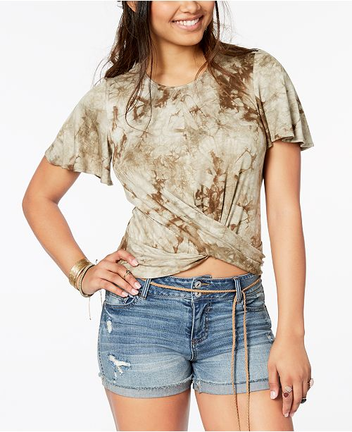 Juniors' Printed Crisscross Top, Created for Macy's
