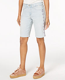 NYDJ Embroidered Tummy-Control Denim Shorts