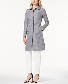 Anne Klein Gingham-Print Coat