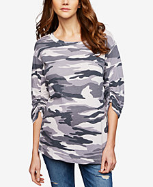 Splendid Maternity Ruched Camo Top
