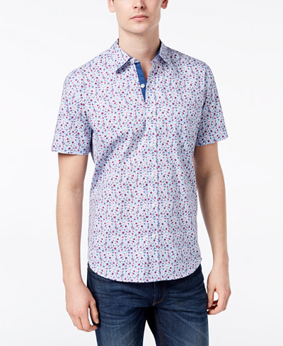 Con.Struct Men's Stretch Floral-Print Shirt, Created for Macy's