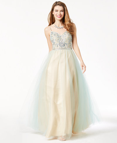Say Yes to the Prom Juniors' Embellished Strappy-Back Gown, Created for Macy's