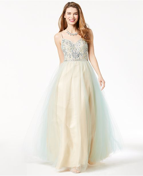 Say Yes To The Prom Juniors Embellished Strappy Back Gown Created