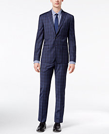 DKNY Men's Modern-Fit Stretch Blue Plaid Suit Separates