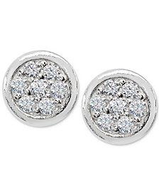 Giani Bernini Cubic Zirconia Pavé Stud Earrings in Sterling Silver, Created for Macy's