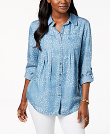 Style & Co Petite Printed Utility Tunic Shirt, Created for Macy's