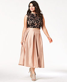 City Chic Trendy Plus Size Lace Crop Top & Satin Midi Skirt