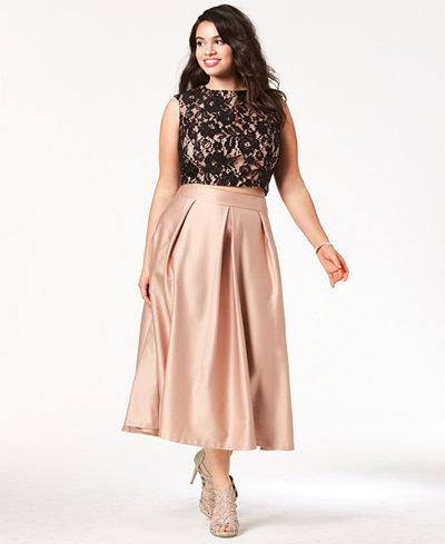 City Chic Trendy Plus Size Lace Crop Top & Satin Midi Skirt