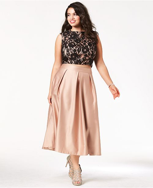 9425ba256fd60 ... City Chic Trendy Plus Size Lace Crop Top   Satin Midi Skirt ...