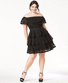 City Chic Trendy Plus Size Off-The-Shoulder Tiered Dress