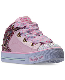 Skechers Little Girls' Twinkle Toes: Shuffles - Velvet Mid Light-Up Casual Sneakers from Finish Line