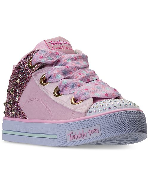 432cf94489ce ... Skechers Little Girls  Twinkle Toes  Shuffles - Velvet Mid Light-Up  Casual Sneakers ...