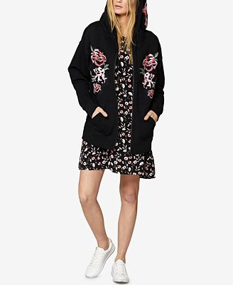 Sanctuary Cotton Embroidered Zip-Front Hoodie