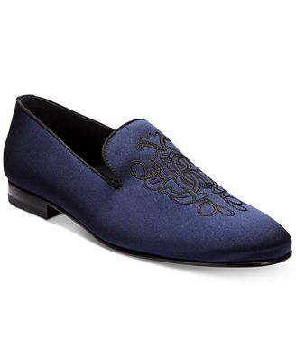 Roberto CavalliMen's Satin Embroidered Loafers Men's Shoes