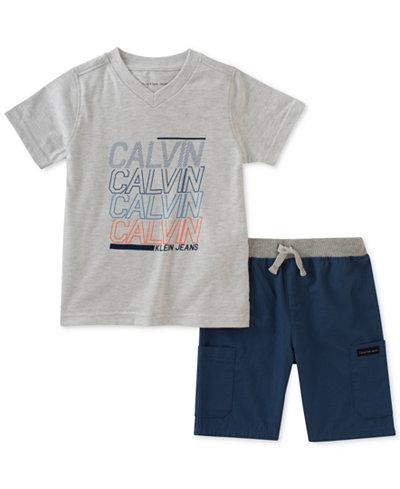 Calvin Klein 2-Pc. Graphic-Print T-Shirt & Cargo Shorts Set, Little Boys