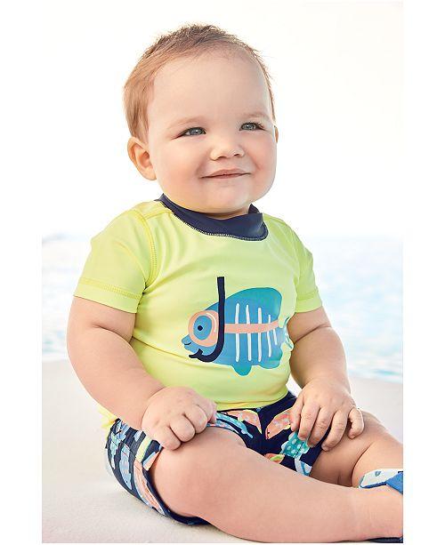 fb1bebf29 Carter's 2-Pc. Fish Rash Guard & Swim Trunks Set, Baby Boys ...