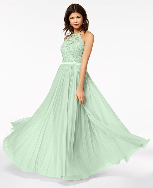 Sequin Hearts Juniors Lace Pleated Halter Gown Created For