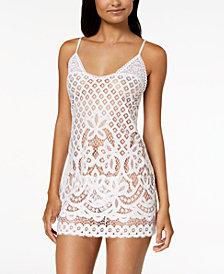 Linea Donatella Festival Bridal Sheer Crochet-Lace Chemise & Matching G-String
