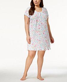 Miss Elaine Plus Size Wildflower-Print Knit Nightgown
