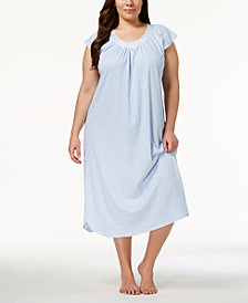 Miss Elaine Plus Size Knit Embroidered-Rose Nightgown