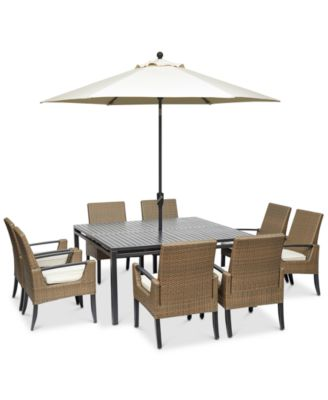 """Genevieve  Outdoor Aluminum & Wicker 9-Pc. Dining Set (62"""" Square Dining Table and 8 Dining Chairs) with Sunbrella® Cushions, Created for Macy's"""