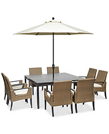 "CLOSEOUT! Genevieve  Outdoor Aluminum & Wicker 9-Pc. Dining Set (62"" Square Dining Table and 8 Dining Chairs) with Sunbrella® Cushions, Created for Macy's"