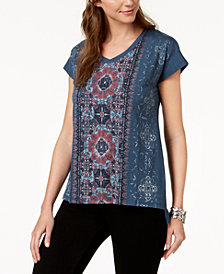 Style & Co Printed High-Low T-Shirt, Created for Macy's