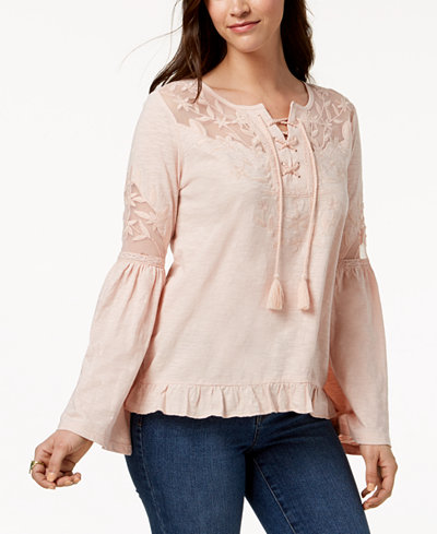 Style & Co Petite Embroidered Top, Created for Macy's