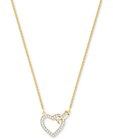 "Swarovski Gold-Tone Crystal Interlocking Heart & Circle 16-1/2"" Pendant Necklace"