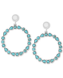 Lucky Brand Silver-Tone Blue & White Stone Drop Hoop Earrings