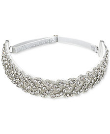 Jewel Badgley Mischka Silver-Tone Crystal Strap Headband