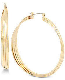 Hint of Gold Twist Hoop Earrings in Gold-Plate