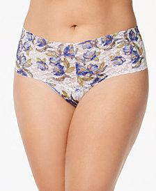 Hanky Panky Plus Size Bon Fleur Retro Sheer Lace Thong 7T1921X