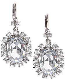 Marchesa Silver-Tone Cubic Zirconia  Halo Oval Drop Earrings, Created for Macy's
