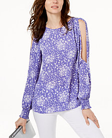 MICHAEL Michael Kors Chain-Print Cold-Shoulder Top,Created for Macy's