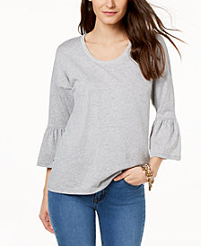 MICHAEL Michael Kors Metallic-Trim Bell-Sleeve Top