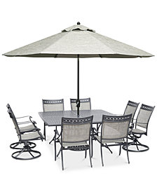 "Vintage II Outdoor Aluminum 9-Pc. Dining Set (64"" Square Dining Table,4 Dining Chairs & 4 Swivel Rockers), Created for Macy's"
