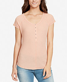 WILLIAM RAST Printed Waffle-Knit Henley Top