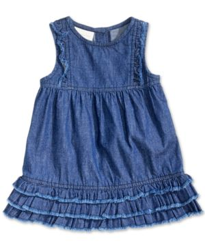 First Impressions Distressed Cotton Denim Ruffle Dress, Baby Girls, Created for Macy's 5376398