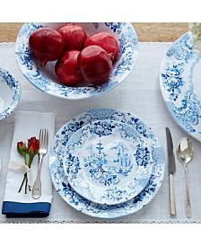 Q Squared Cambridge Rose in Cobalt Melamine Dinnerware Collection