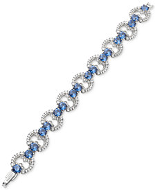Marchesa Silver-Tone Cubic Zirconia  Link Bracelet, Created for Macy's