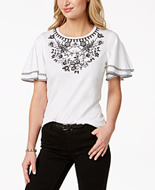 Charter Club Gingham-Detail Embroidered Top, Created for Macy's