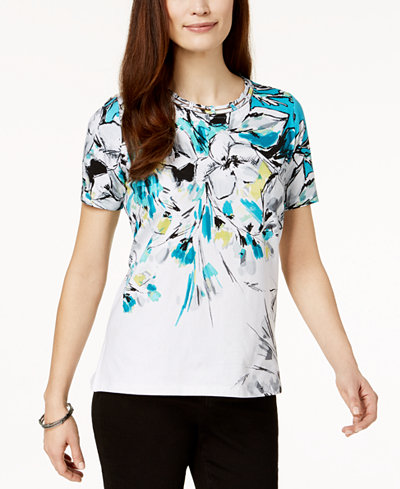 Alfred Dunner Play Date Printed Embellished Top