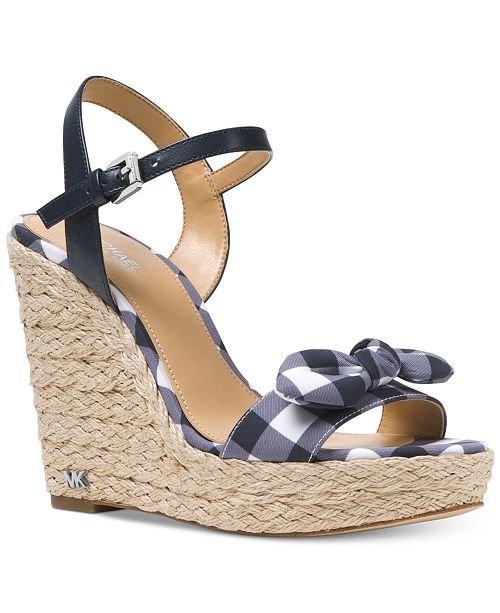 0214df962719 Michael Kors Pippa Gingham Espadrille Wedge Sandals