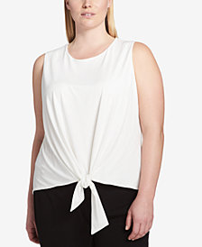 Calvin Klein Plus Size Tie-Front Shell