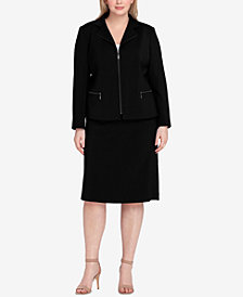 Tahari ASL Plus Size Zip-Front Skirt Suit