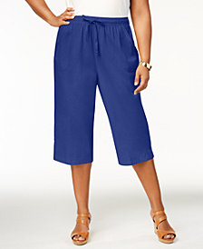 Karen Scott Plus Size Cotton Drawstring Capri Pants, Created for Macy's