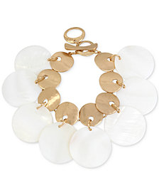 Robert Lee Morris Soho Gold-Tone Mother-of-Pearl-Look Disc Link Necklace