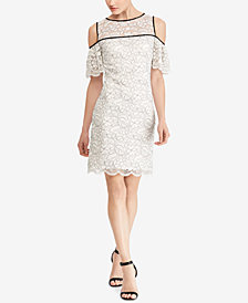 American Living Cold-Shoulder Lace Sheath Dress